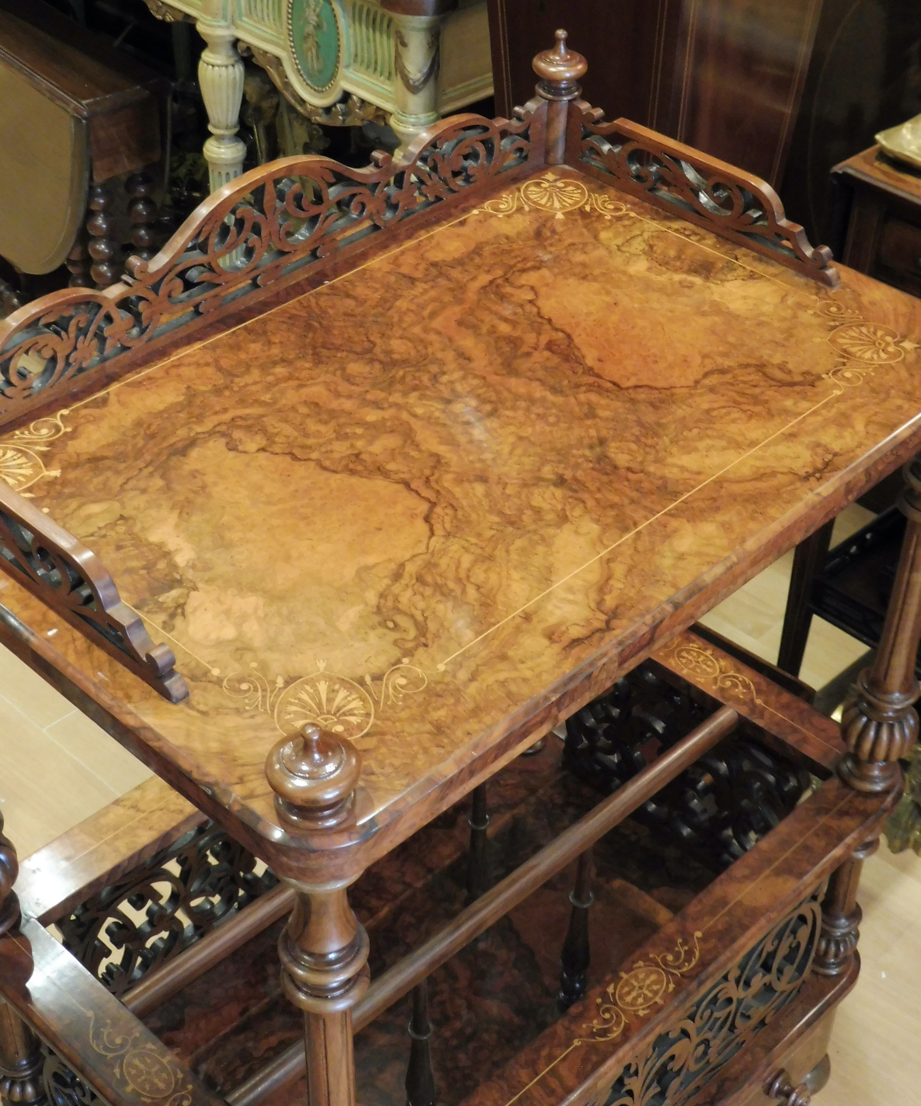 Victorian burr walnut and inlaid canterbury table