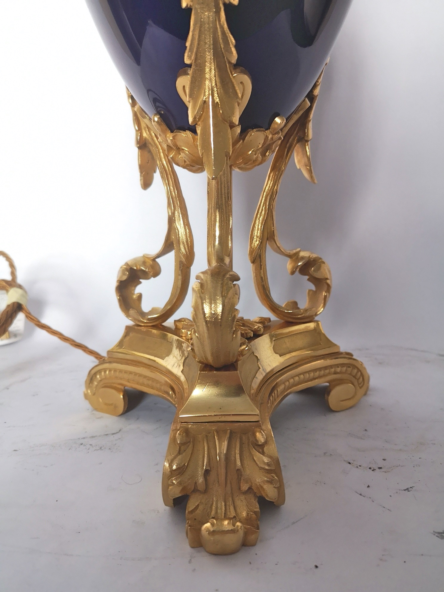 Fine 19th Century French Blue Porcelain And Gilt Bronze Lamp
