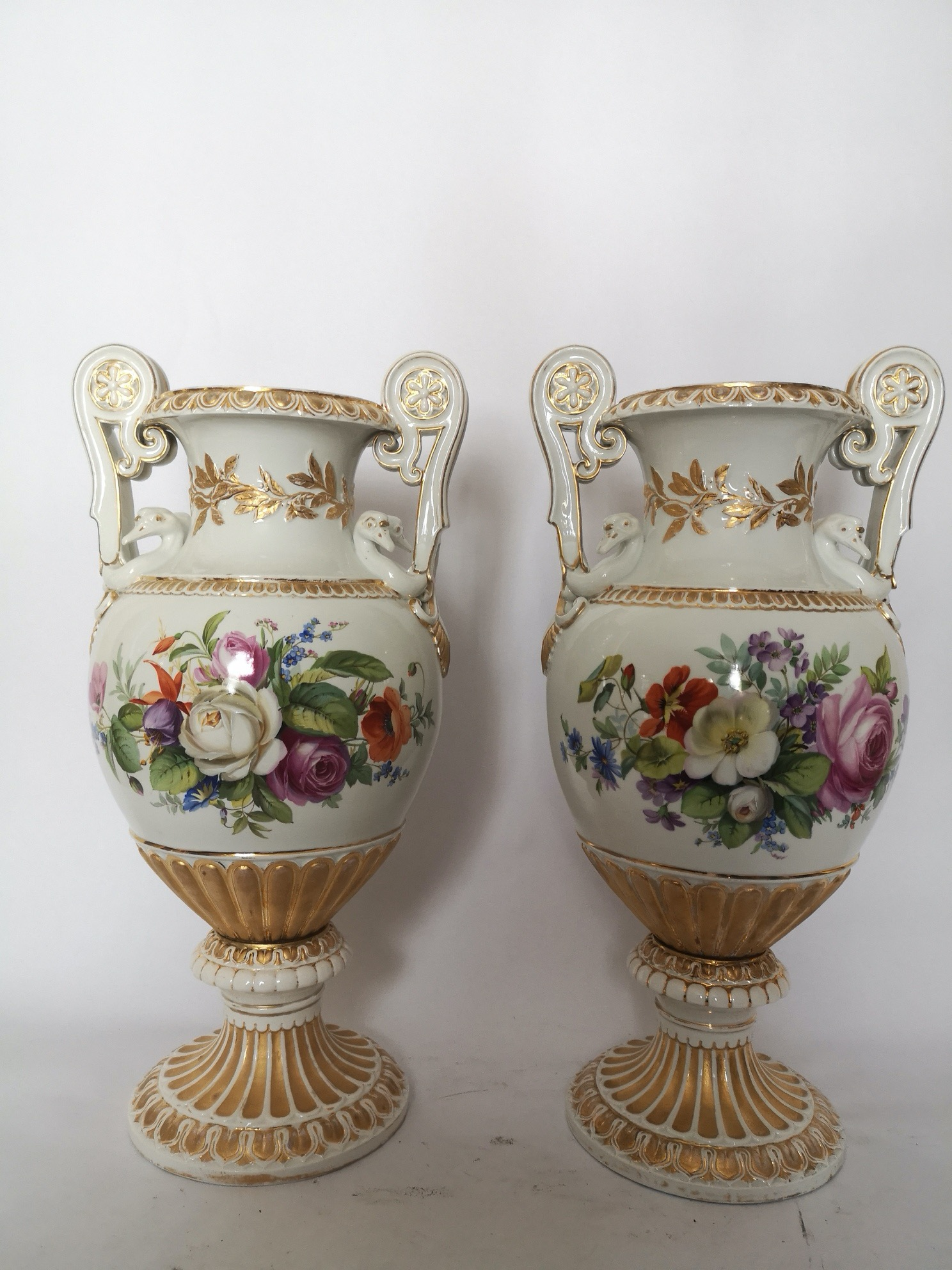 Pair Of Large 19th Century Meissen Vases