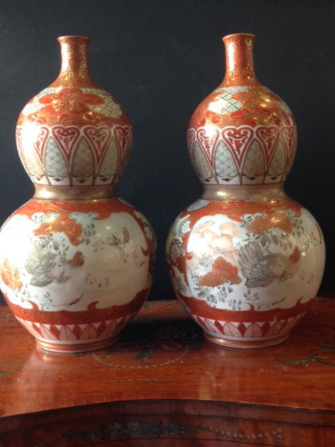 A pair of late 19th century double gourd Japanese kutani vases