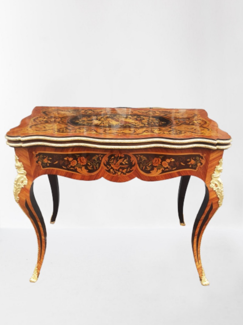 19th Century French Marquetry Card Table