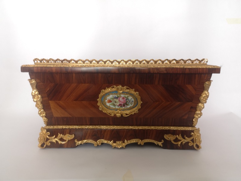 19th Century French KIngwood Ormolu And Porcelain Jardiniere