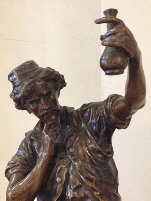 'Le chercheur' French bronze sculpture by Émile Louis Picault
