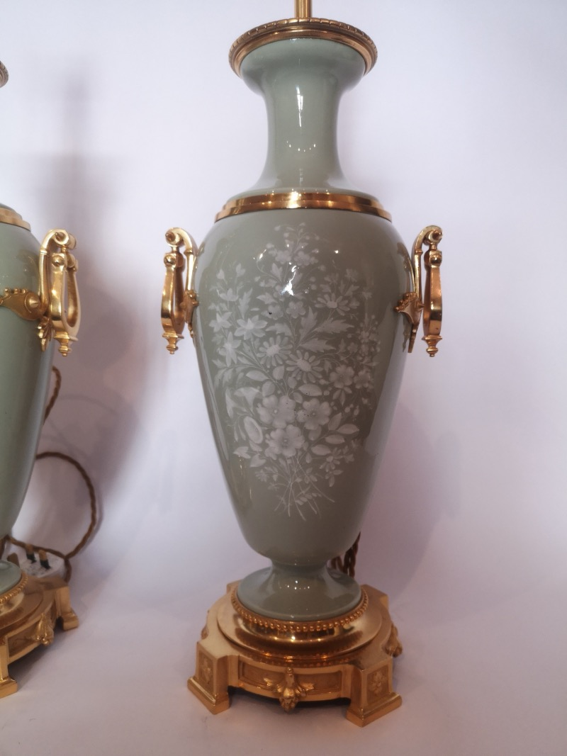 Pair Of 19th Century French Pate Sur Pate Porcelain Lamps