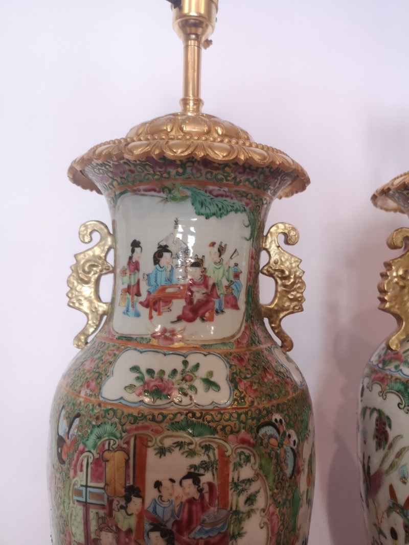Pair Of 19th Century Chinese Famille Rose Porcelain Lamps