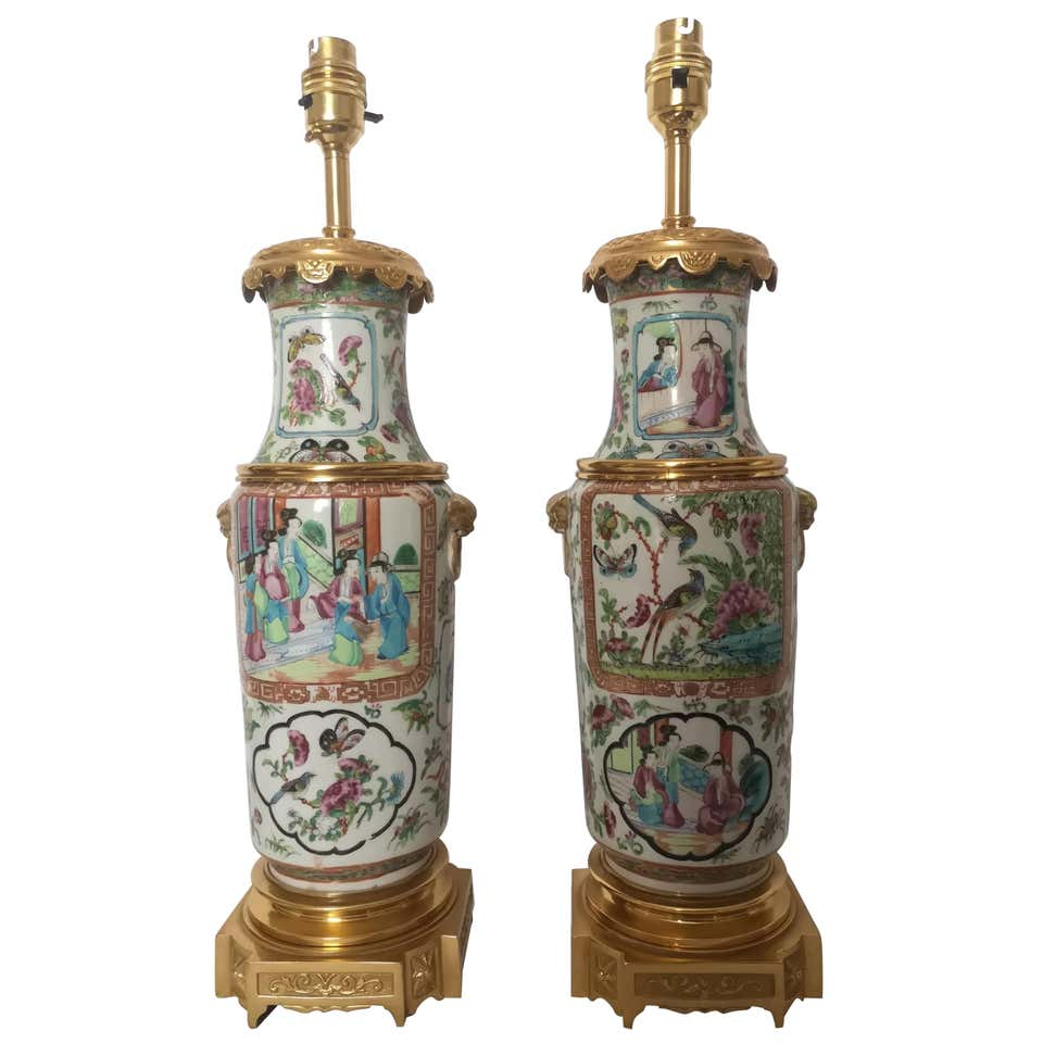 Pair of 19th Century Cantonese Famille Rose Lamps