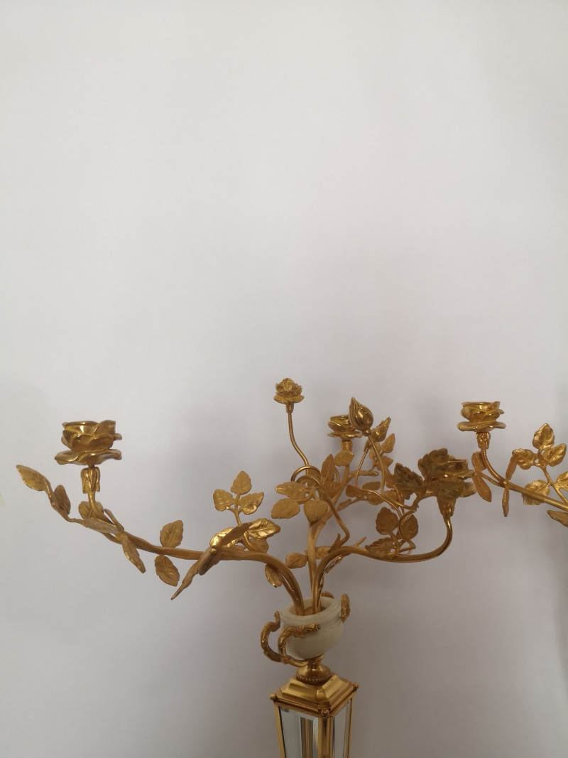 Pair Of 19th Century Marble Crystal And Gilt Bronze Candelabra