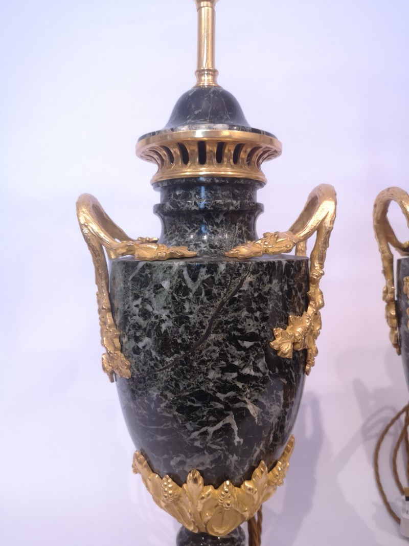 Pair Of 19th Century French Green Marble And Gilt Bronze Lamps