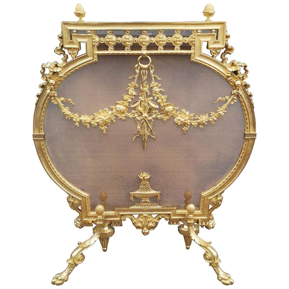 19th Century French Gilt Bronze Fire Screen