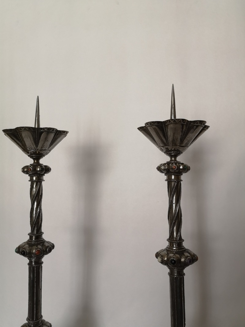 Pair Of Large Early 20th Century Polished Steel Pricket Candlesticks