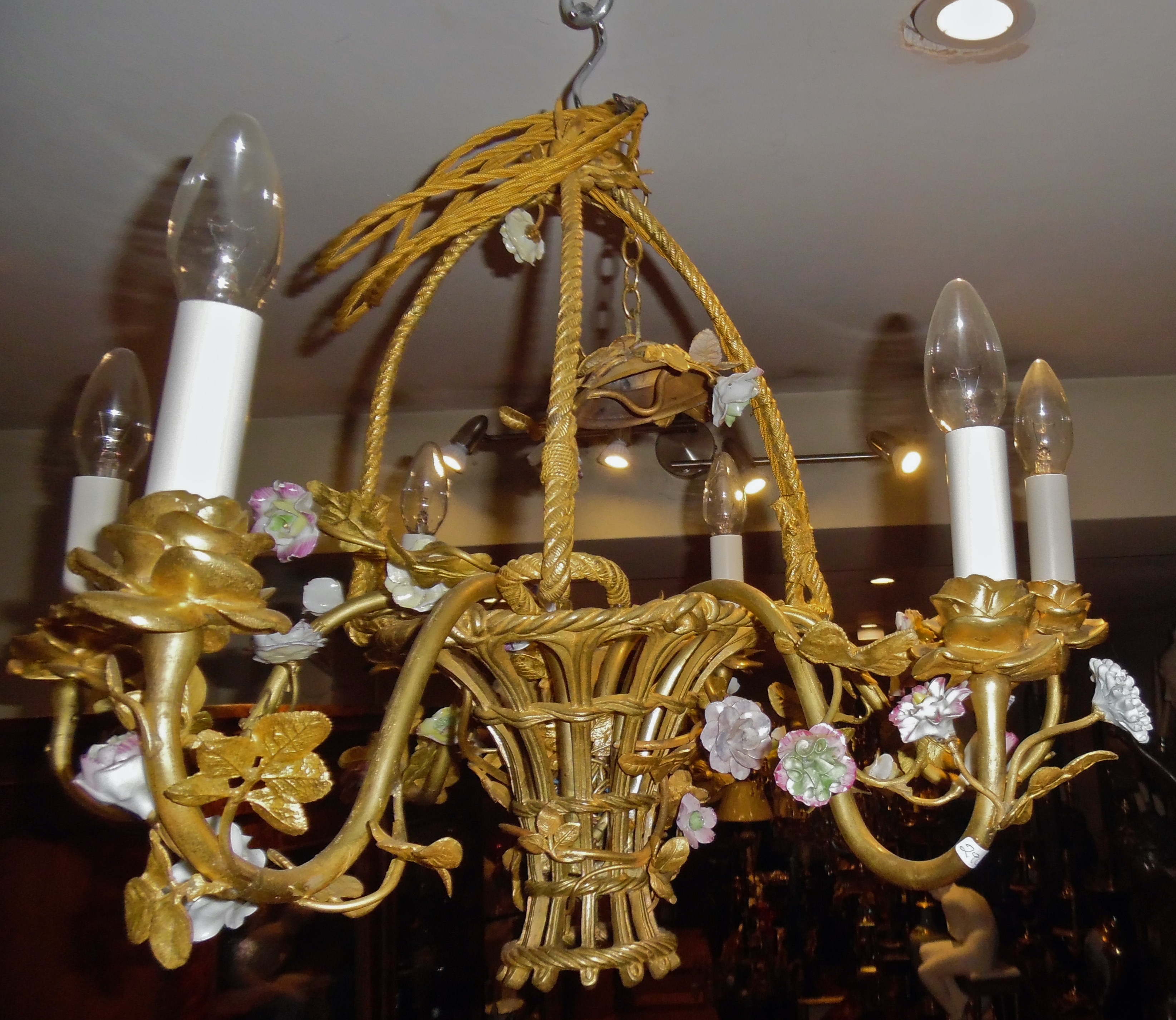 A French porcelain mounted gilt-bronze basket chandelier