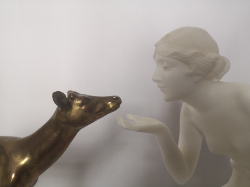 French 1930s Art Deco Sculpture Of A Marble Girl And Bronze Deer