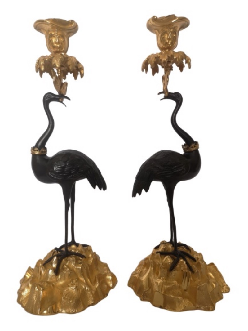 Pair Of Early 19th Century English Bronze And Gilt Stork Candlesticks By Abbot
