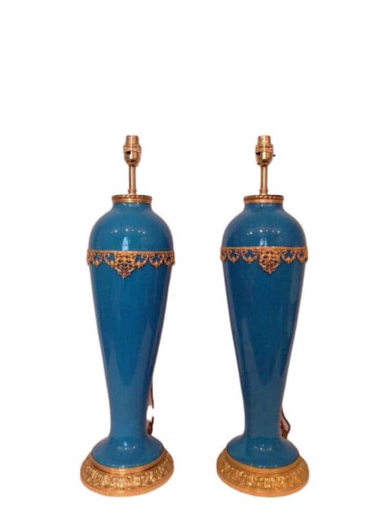 Pair Of French Late 19th Century Blue Porcelain Lamps