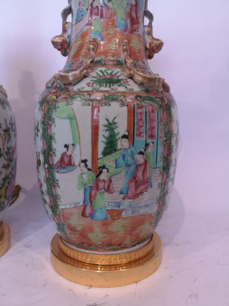 Pair Of 19th Century Chinese Cantonese Porcelain Lamps