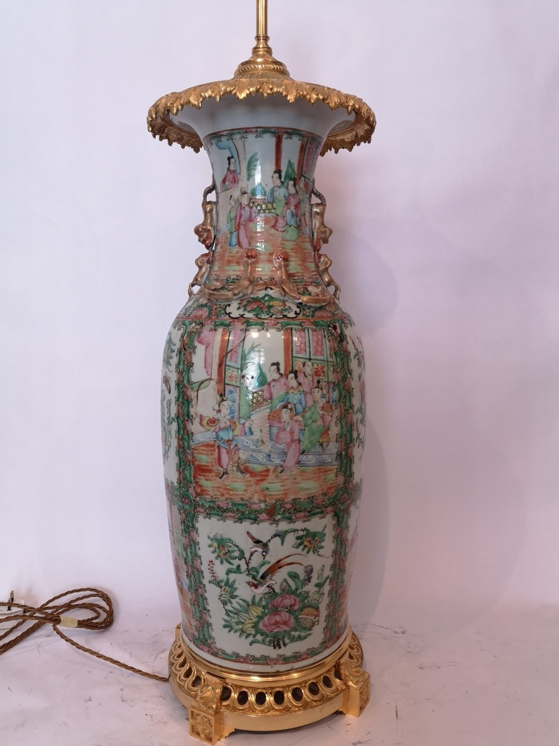 Large 19th Century Chinese Cantonese Porcelain Lamp