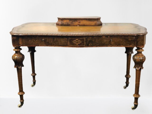 Victorian Burr Walnut Writing Table / Desk, English, 1860