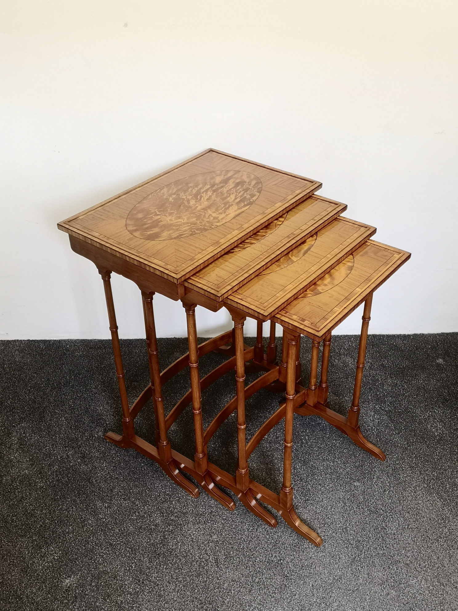 Fine Quality Edwardian Satinwood Nest Of Four Tables