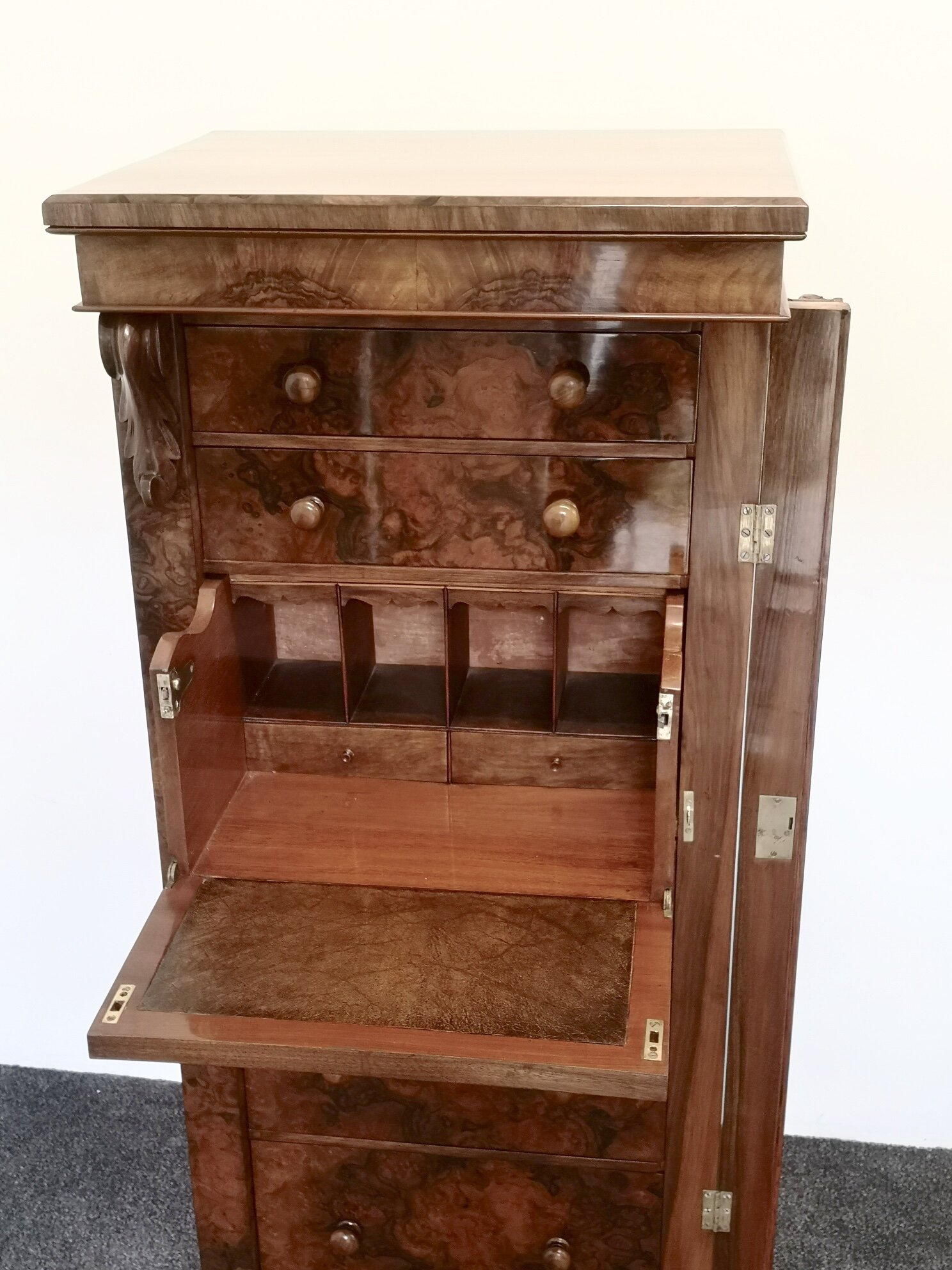 19th Century Burr Walnut Secretaire Wellington Chest