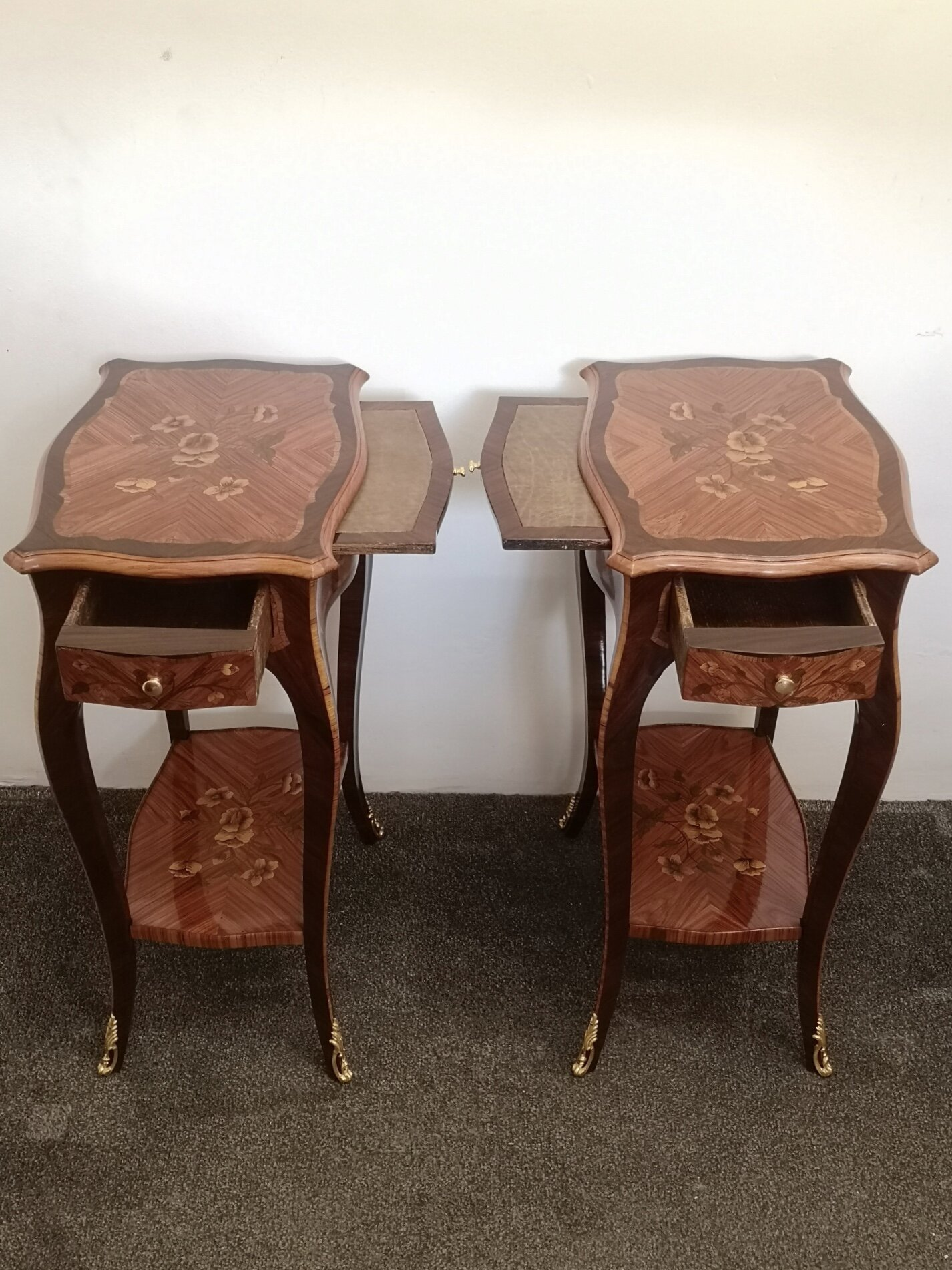 Pair Of Early 20th Century French Kingwood Marquetry Side Tables