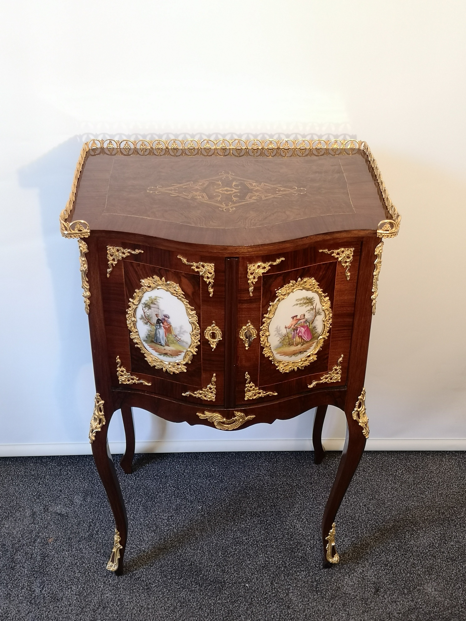 19th Century French Bedside Cabinet With Porcelain Plaques