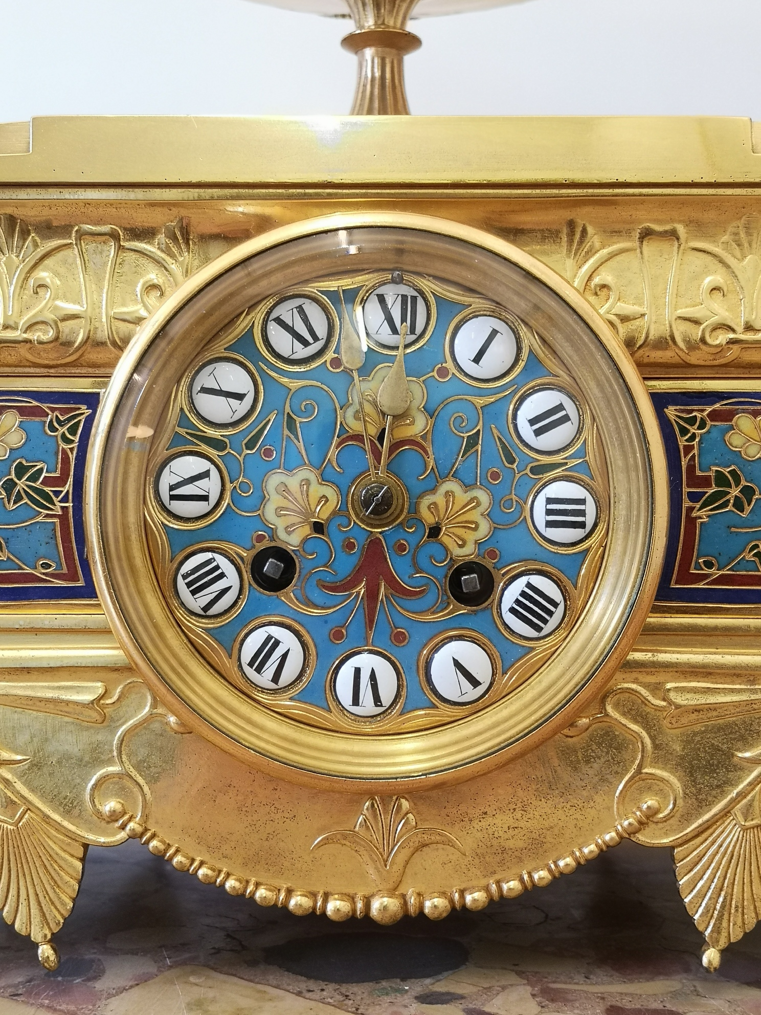 19th Century Barbedienne French Champleve Enamel And Gilt Bronze Clock Set