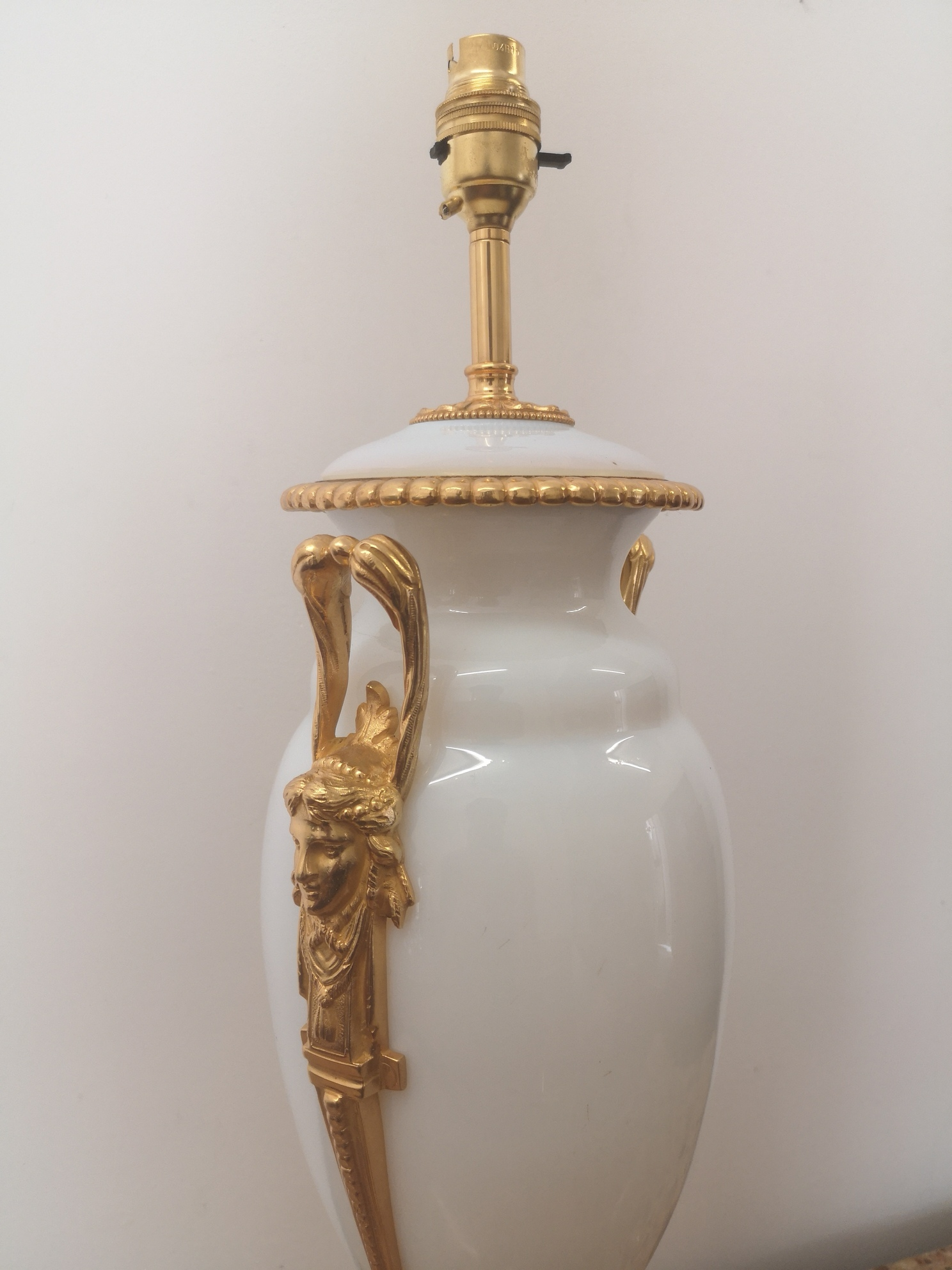 19th Century French Opaline And Gilt Bronze Lamp