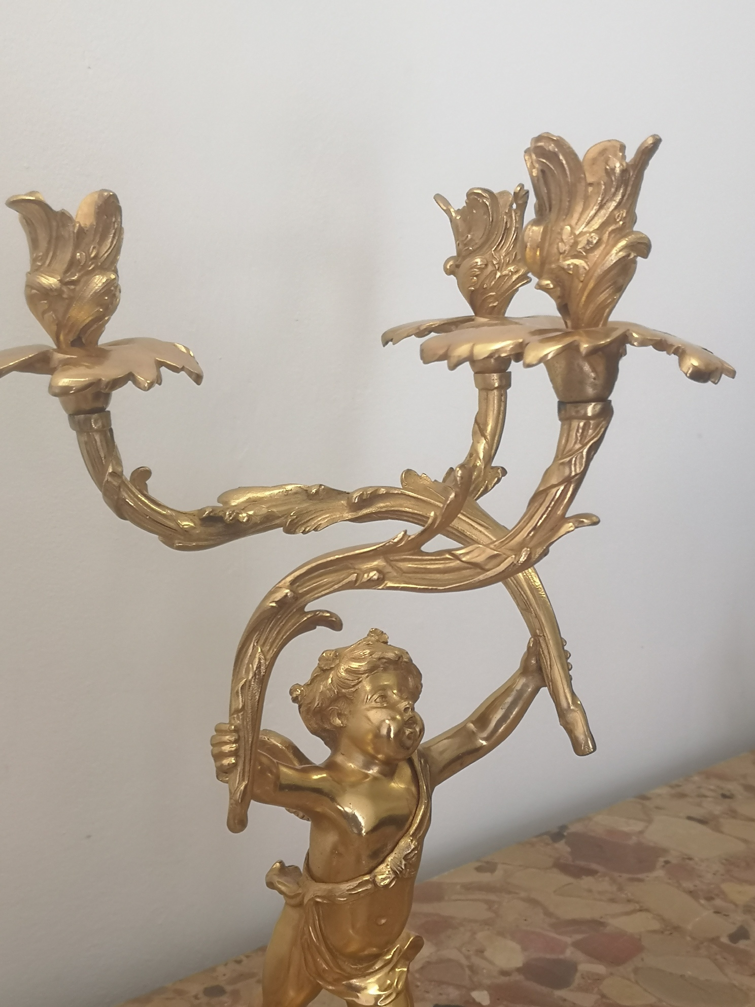 Pair Of 19th Century French Gilt Bronze Cherub Candelabra