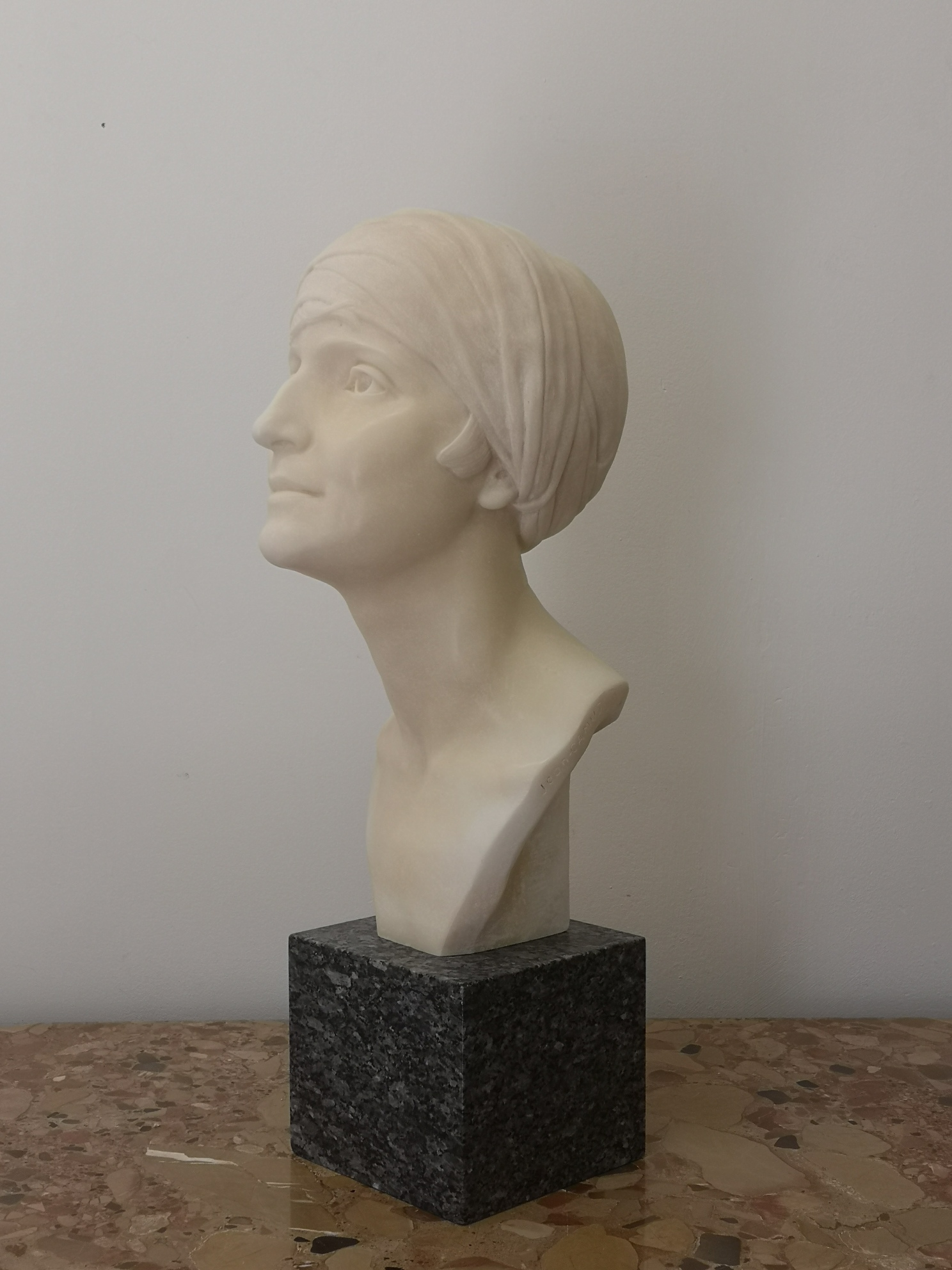 Early 20th Century French Alabaster Bust By Jean Camus