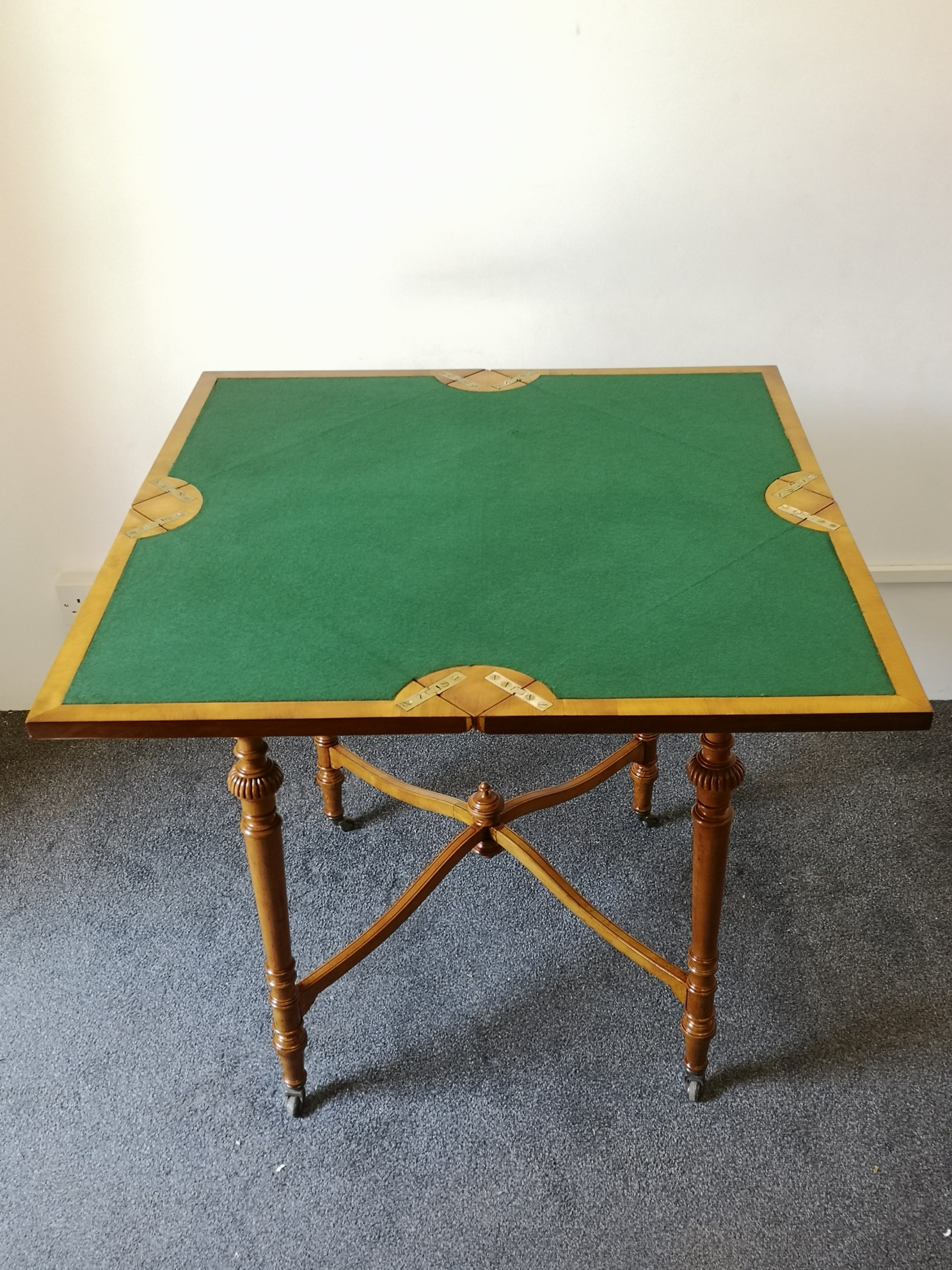 Late 19th Century Victorian Satinwood Envelope Card Table By JAS SHOOLBRED