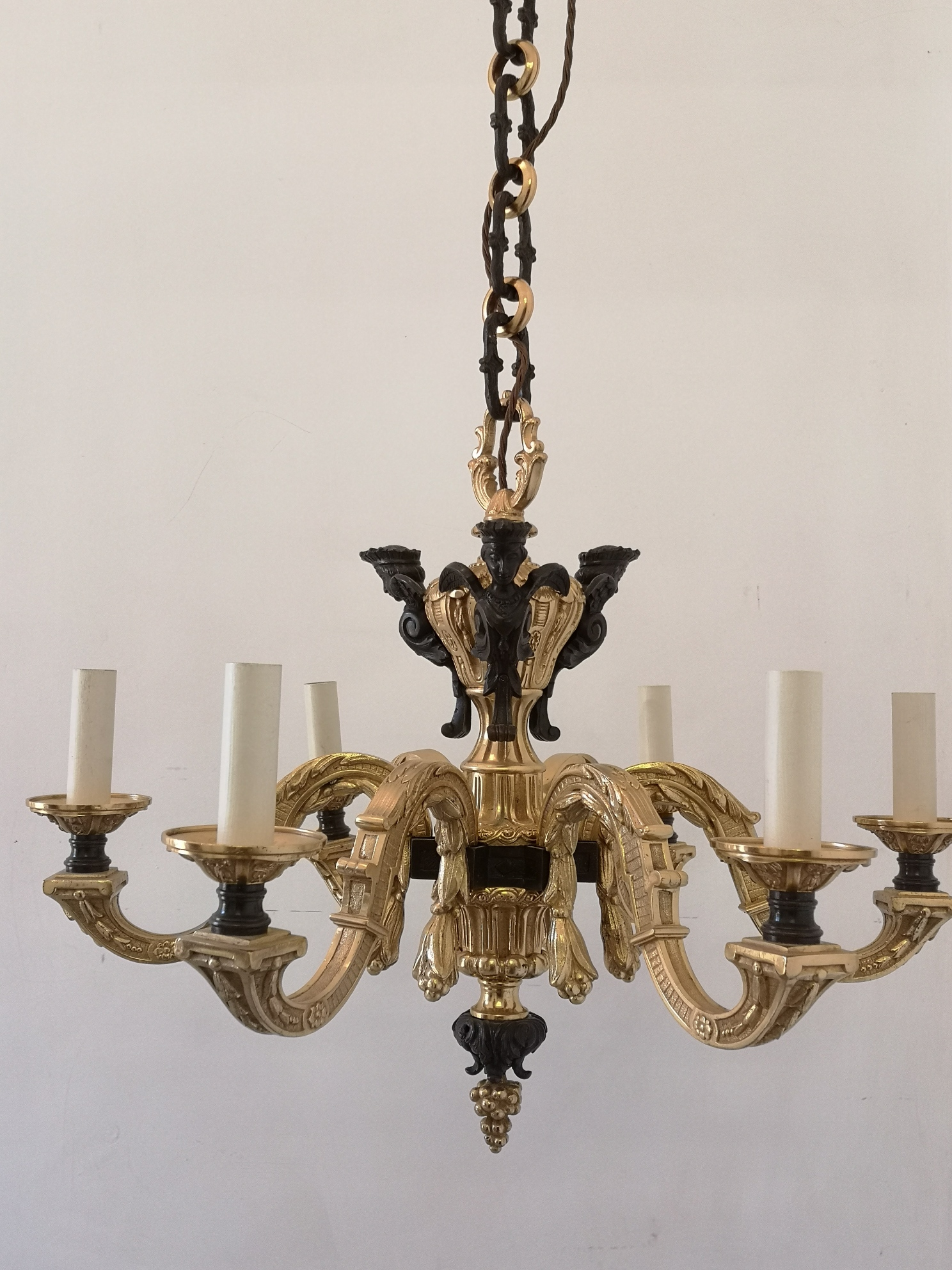 19th Century French Bronze And Gilt Bronze Chandelier