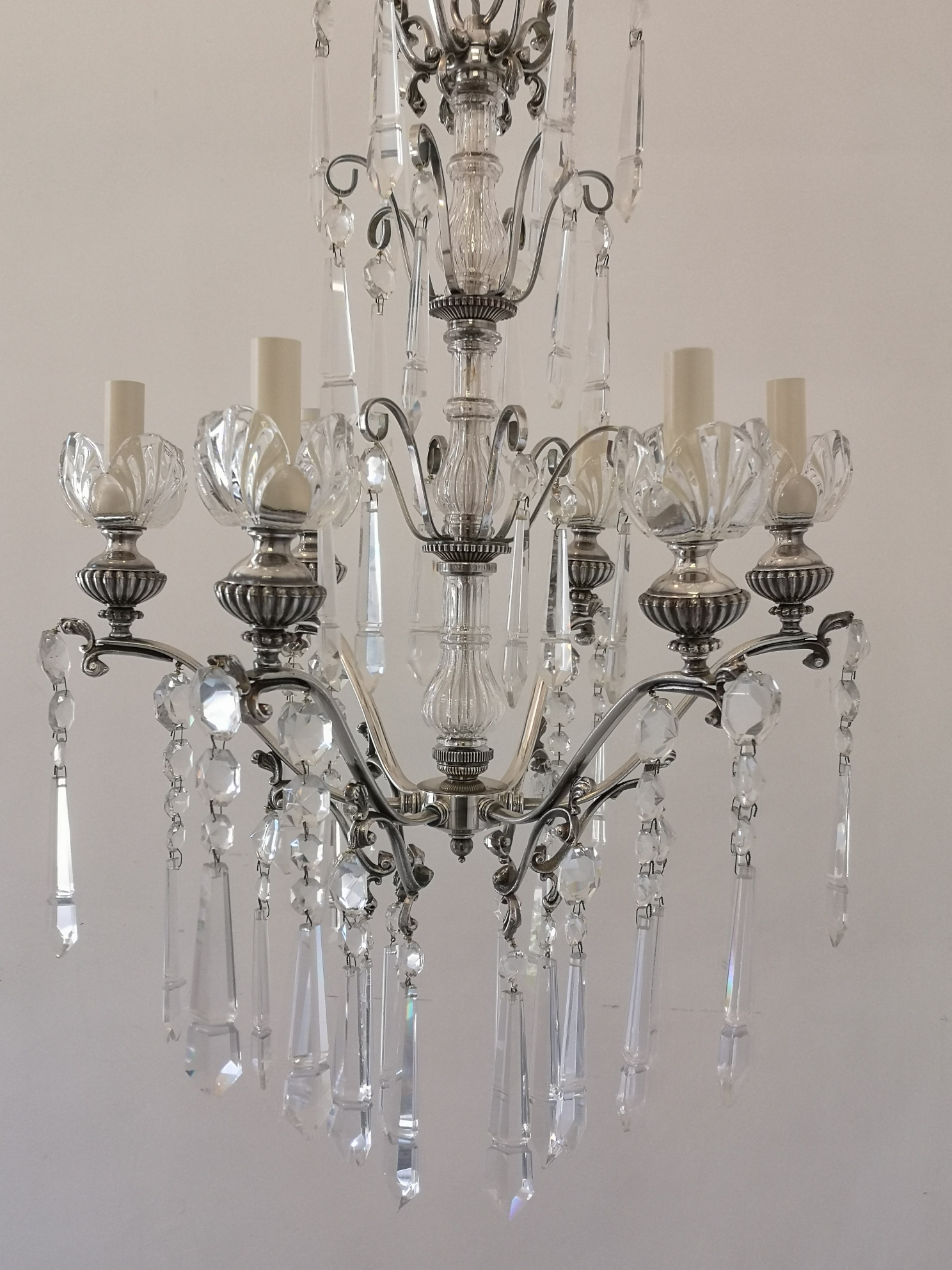 Early 20th Century Silvered Bronze Crystal Drop Chandelier