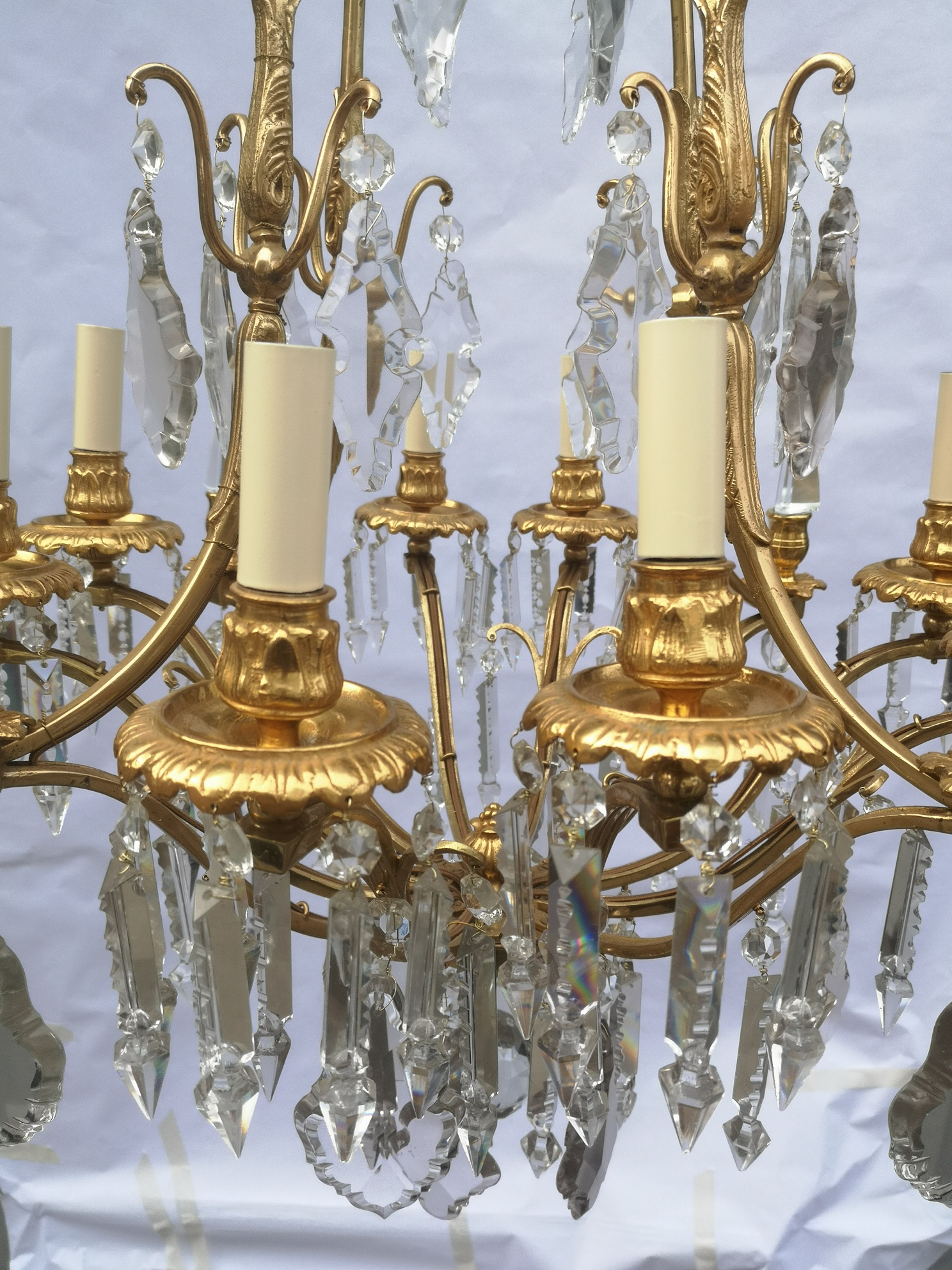 19th Century French Gilt Bronze And Crystal 8 Light Chandelier