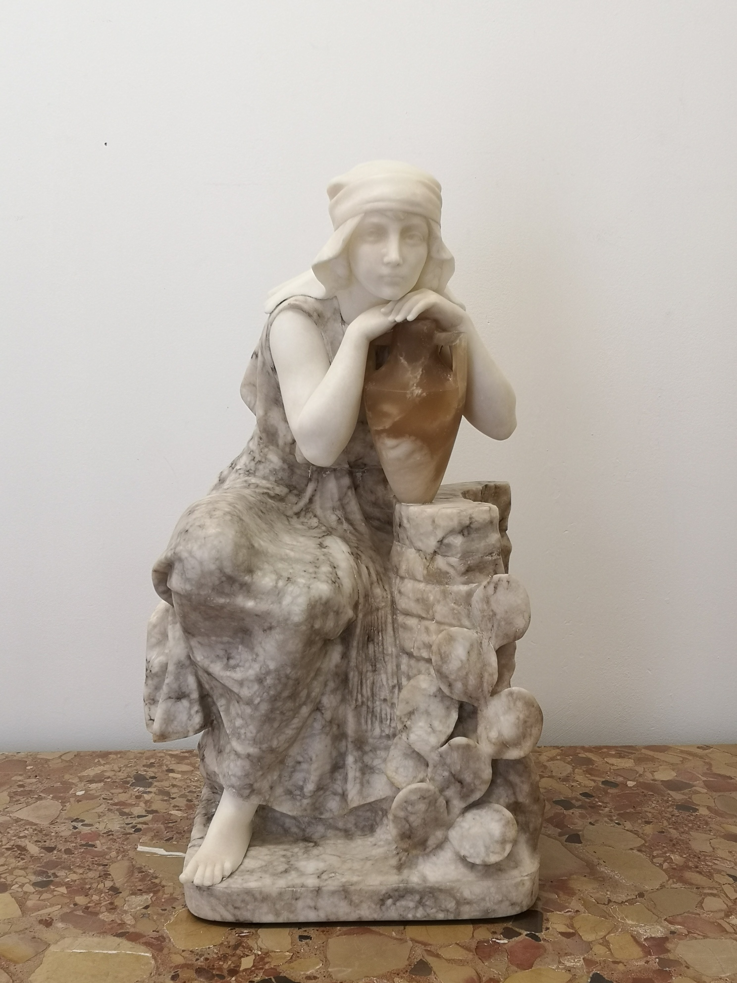 19th Century Italian Alabaster Sculpture Of Woman Water Carrier By Pugi