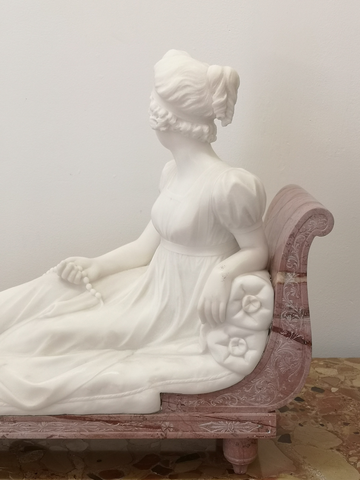 1920S French Marble Sculpture Of A Pauline Bonaparte