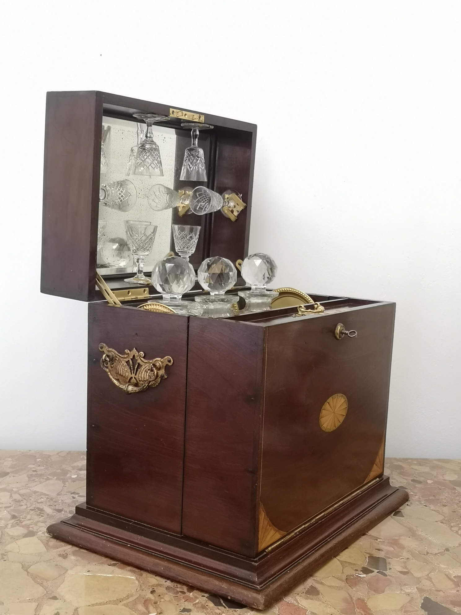 19th Century Mahogany Inlaid Drinks And Games Compendium