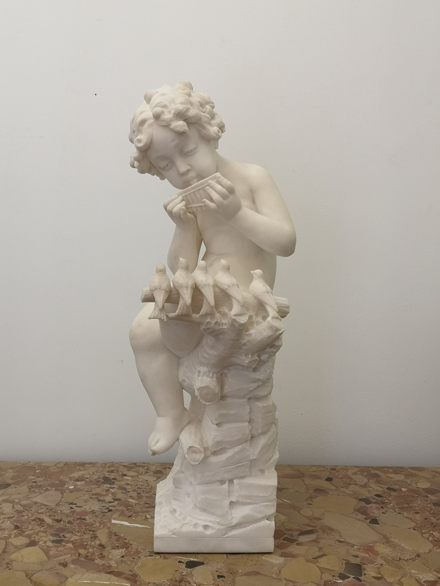 19th Century French Marble Sculpture Of A Putti Playing To Birds