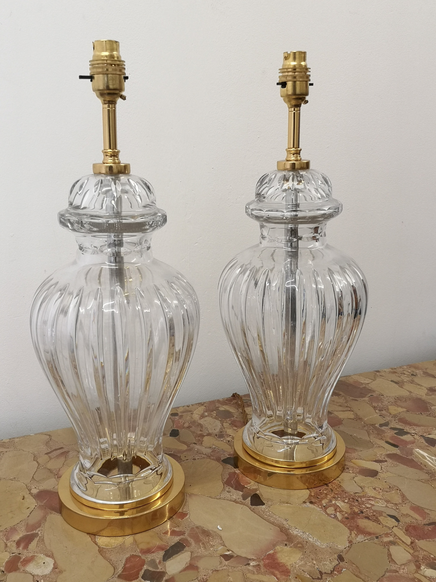 Pair Of Early 20th Century French Crystal And Gilt Bronze Table Lamps