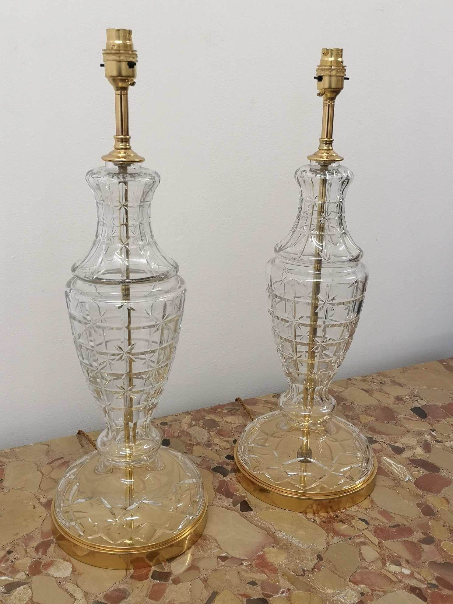 Pair Of Early 20th Century French Cut Crystal And Gilt Bronze Table Lamps