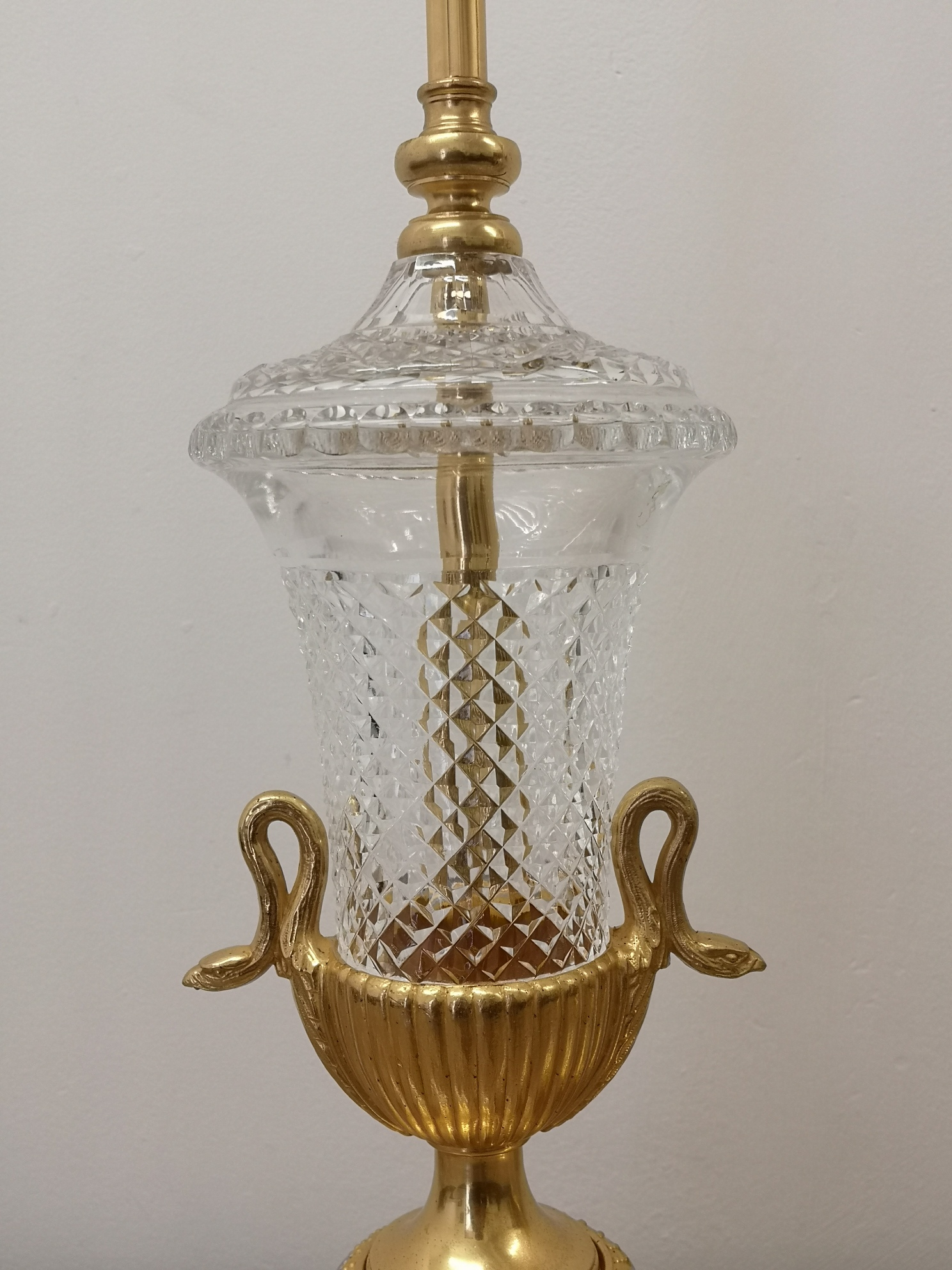Pair Of Early 20th Century Crystal And Gilt Bronze Table Lamps