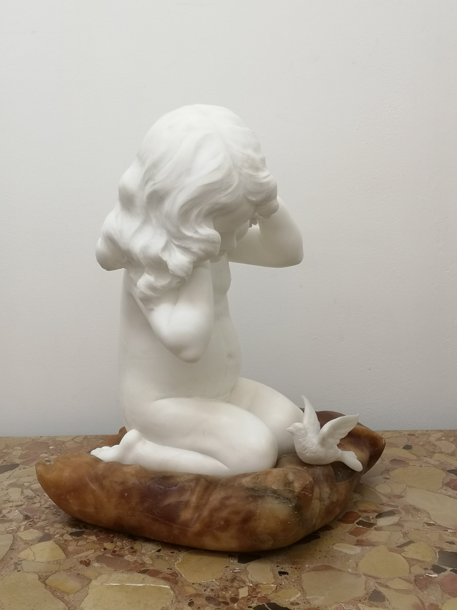 Early 20th Century Italian Marble Of A Girl And Bird By F Vichi