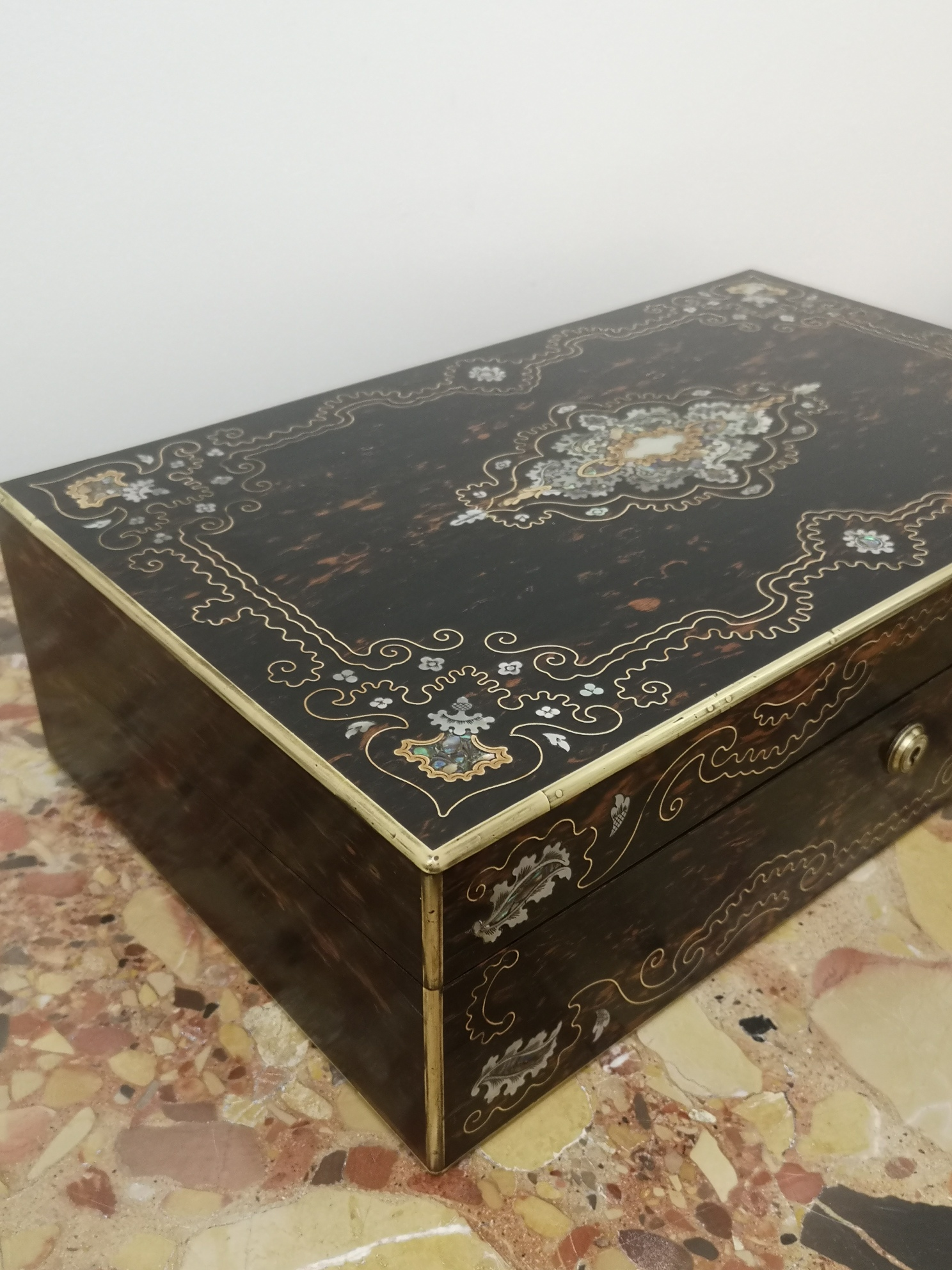 Fine 19th Century Coromandel And MOP Writing Box By Thomas Lund