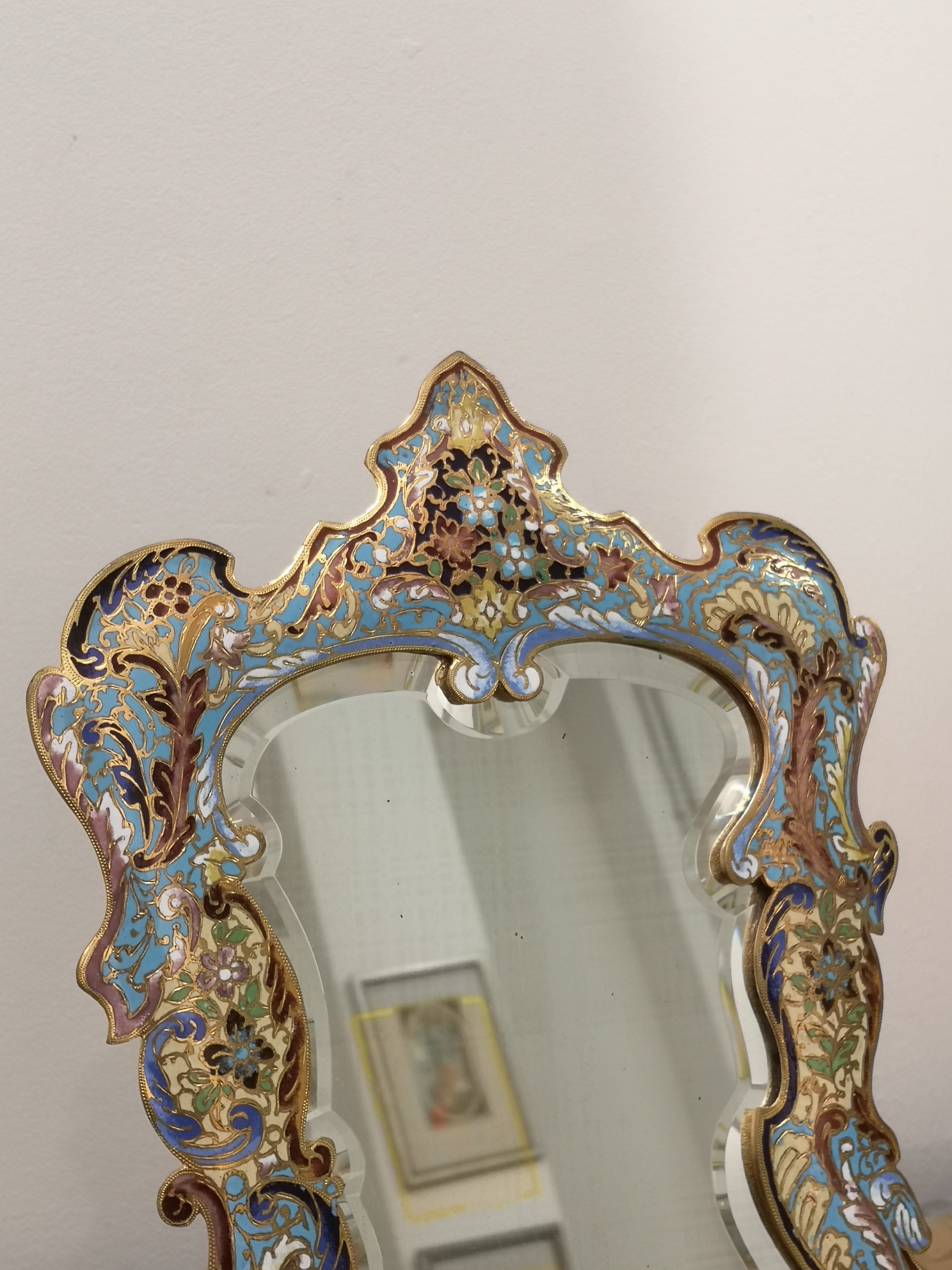 19th Century French Champleve Enamel Dressing Mirror
