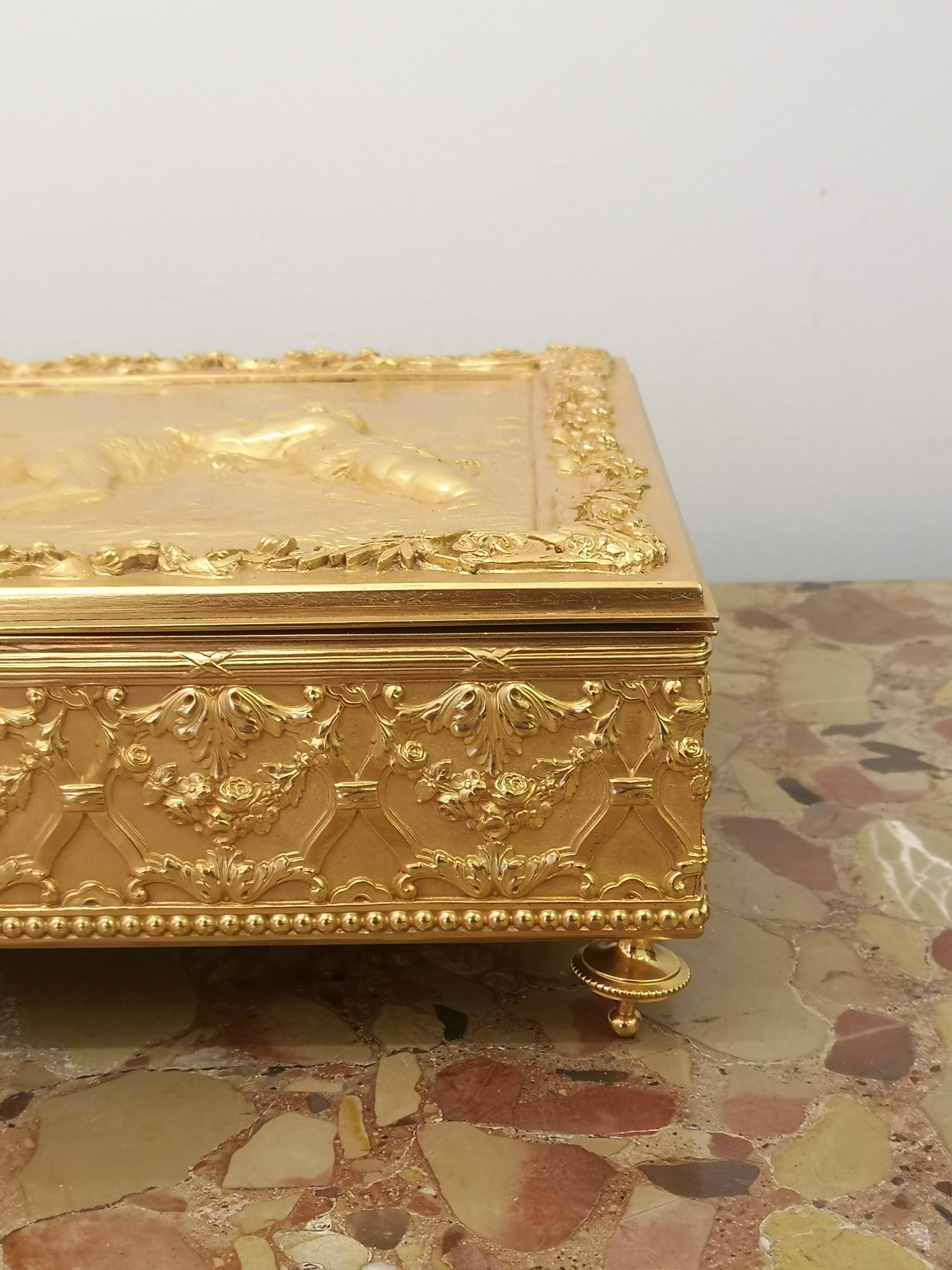 19th Century French Clodion Style Gilt Bronze Box