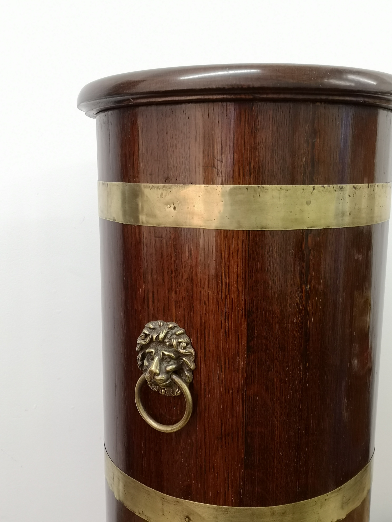 19th Century English Oak Brass Bounded Stick Stand