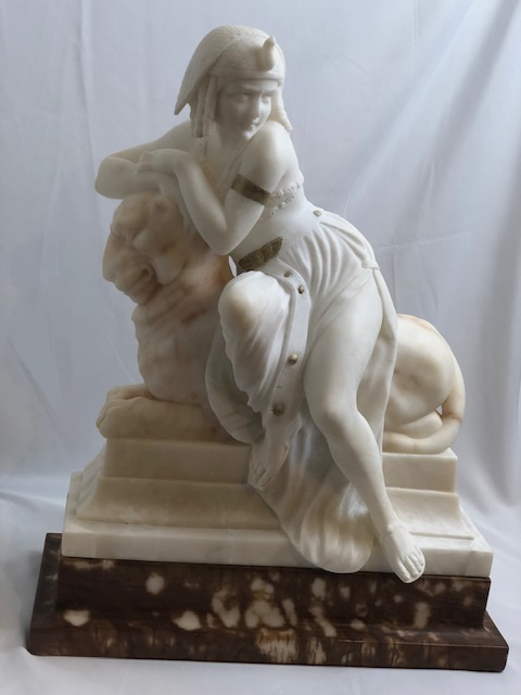 Italian Alabaster Sculpture of Cleopatra, Draped across a lion. 1920s