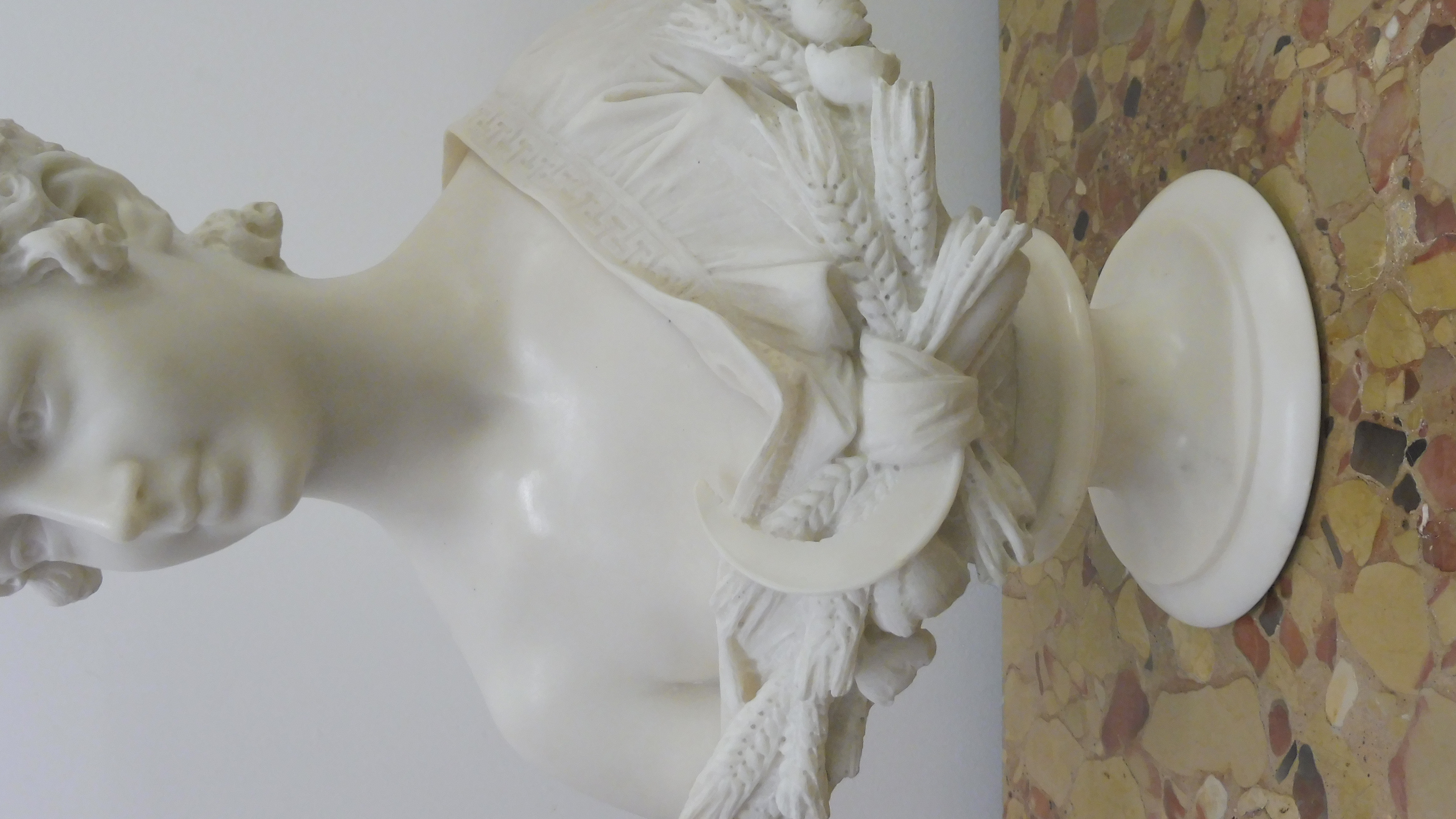 19th Century Marble Bust Woman With A Wheat Sheaf