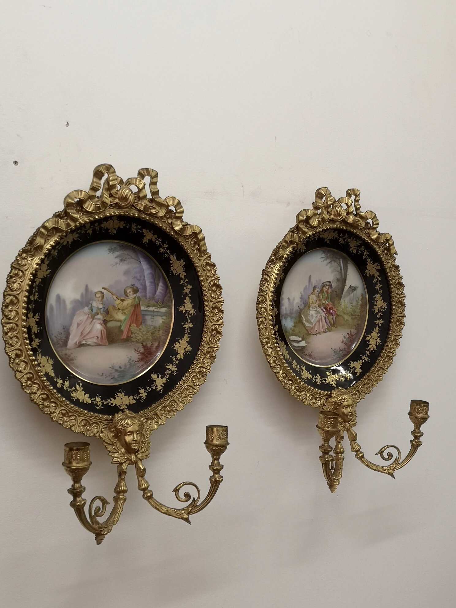 Pair Of 19th Century Sevres Wall Lights