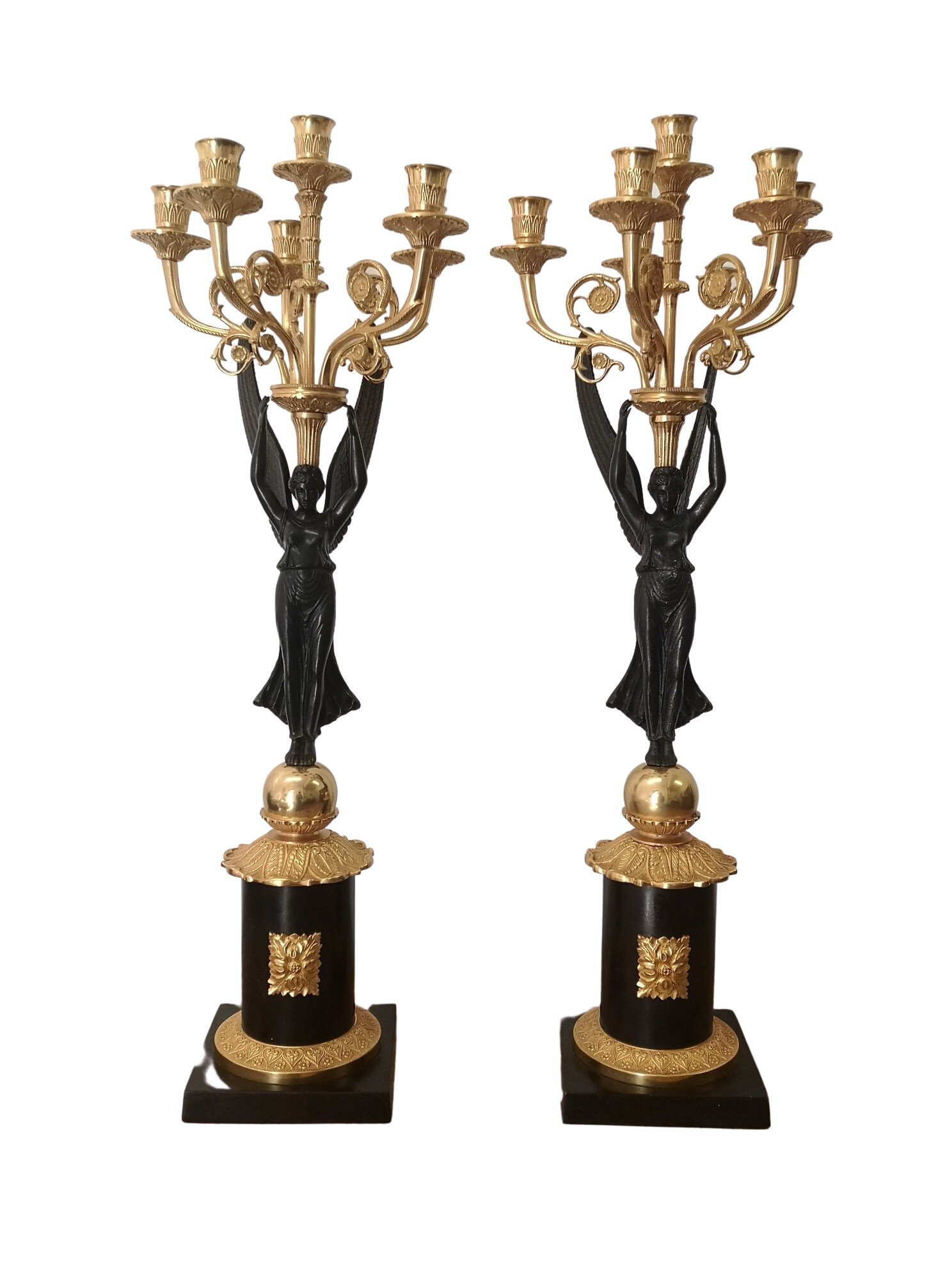 Pair Of 19th Century French Bronze And Gilt Candelabras